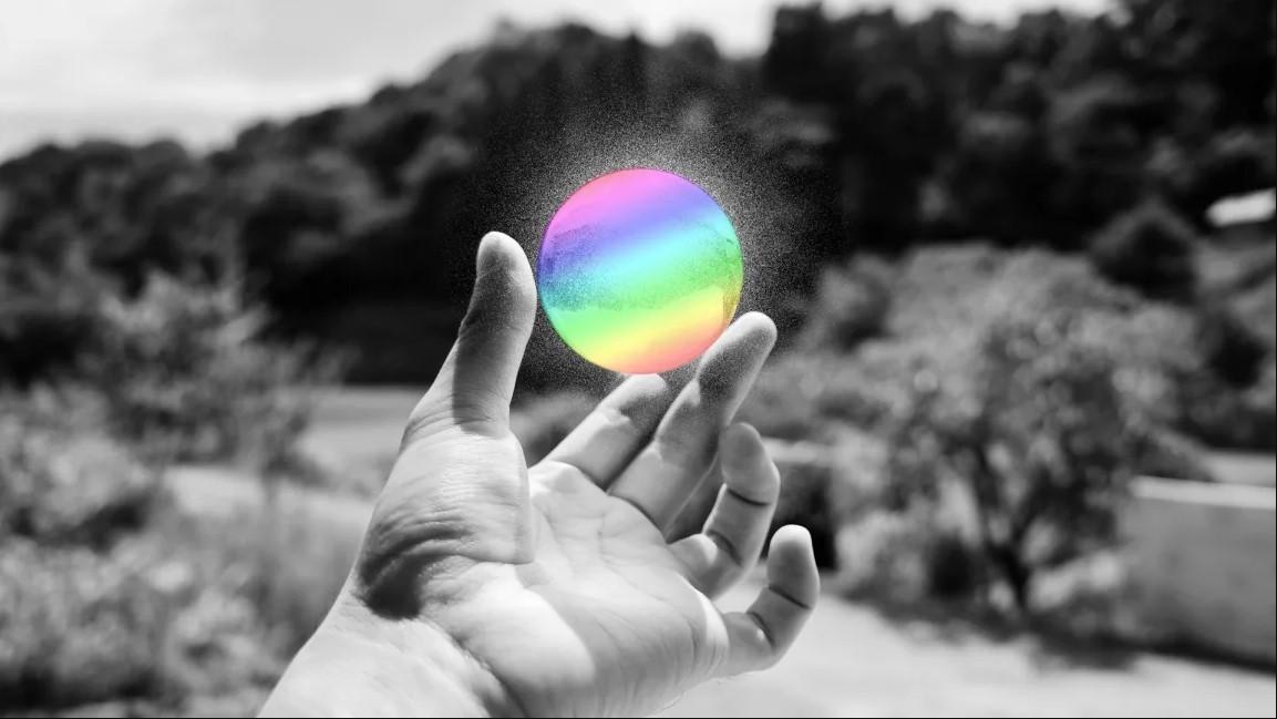 Glowing rainbow orb