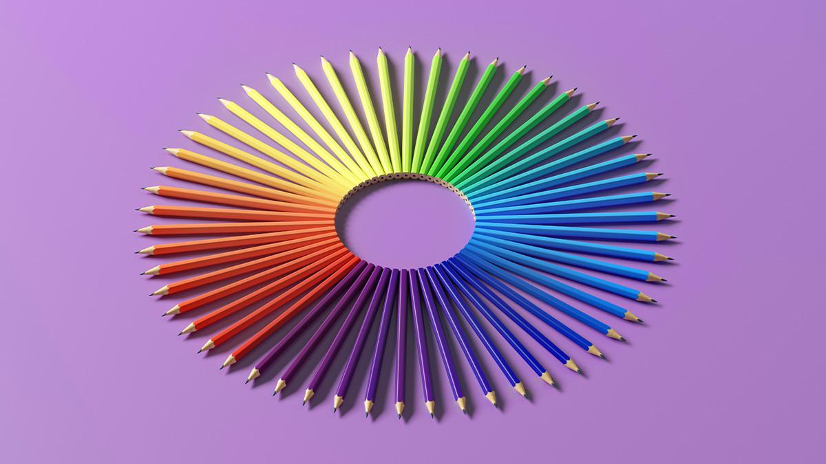 Pencils in diverse colors