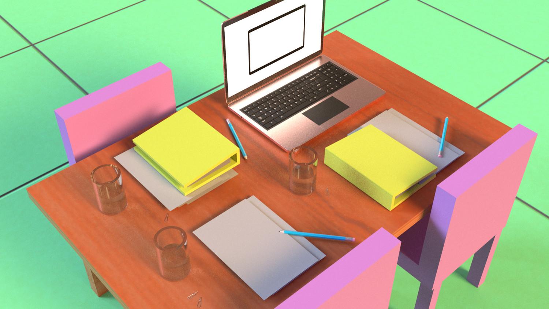 Colorful WFH desk