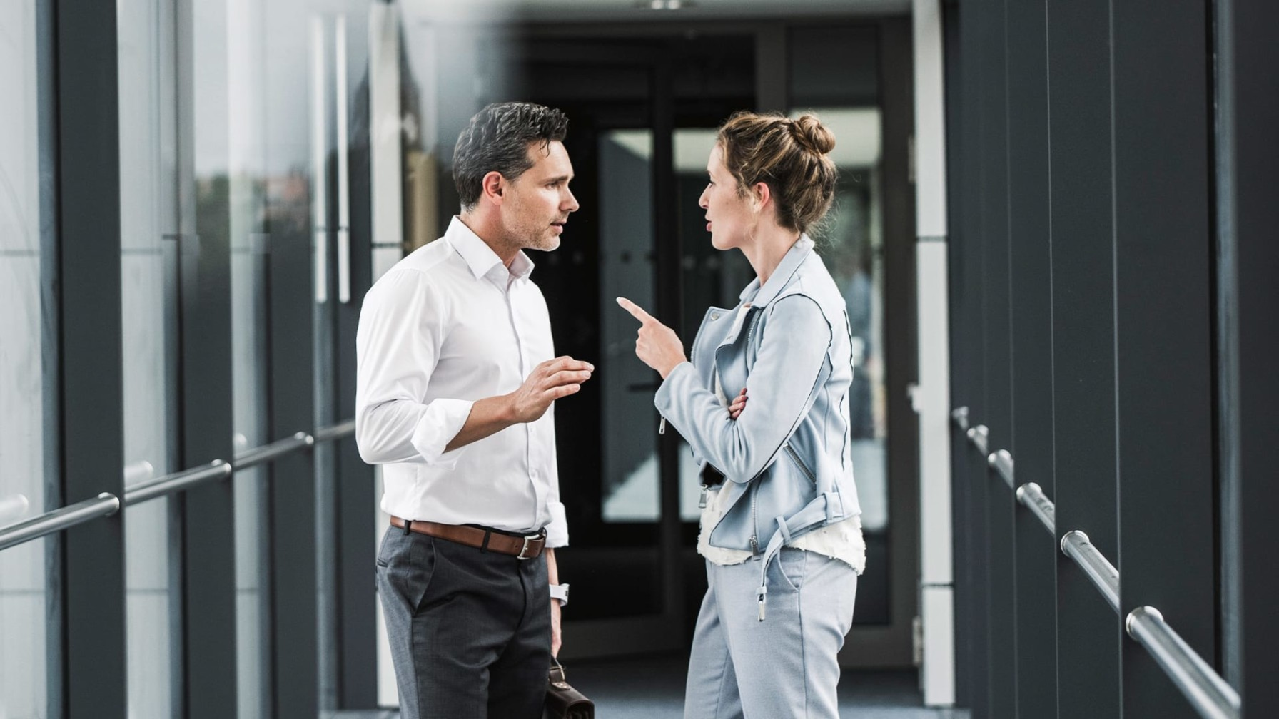 two leaders having tense conversation