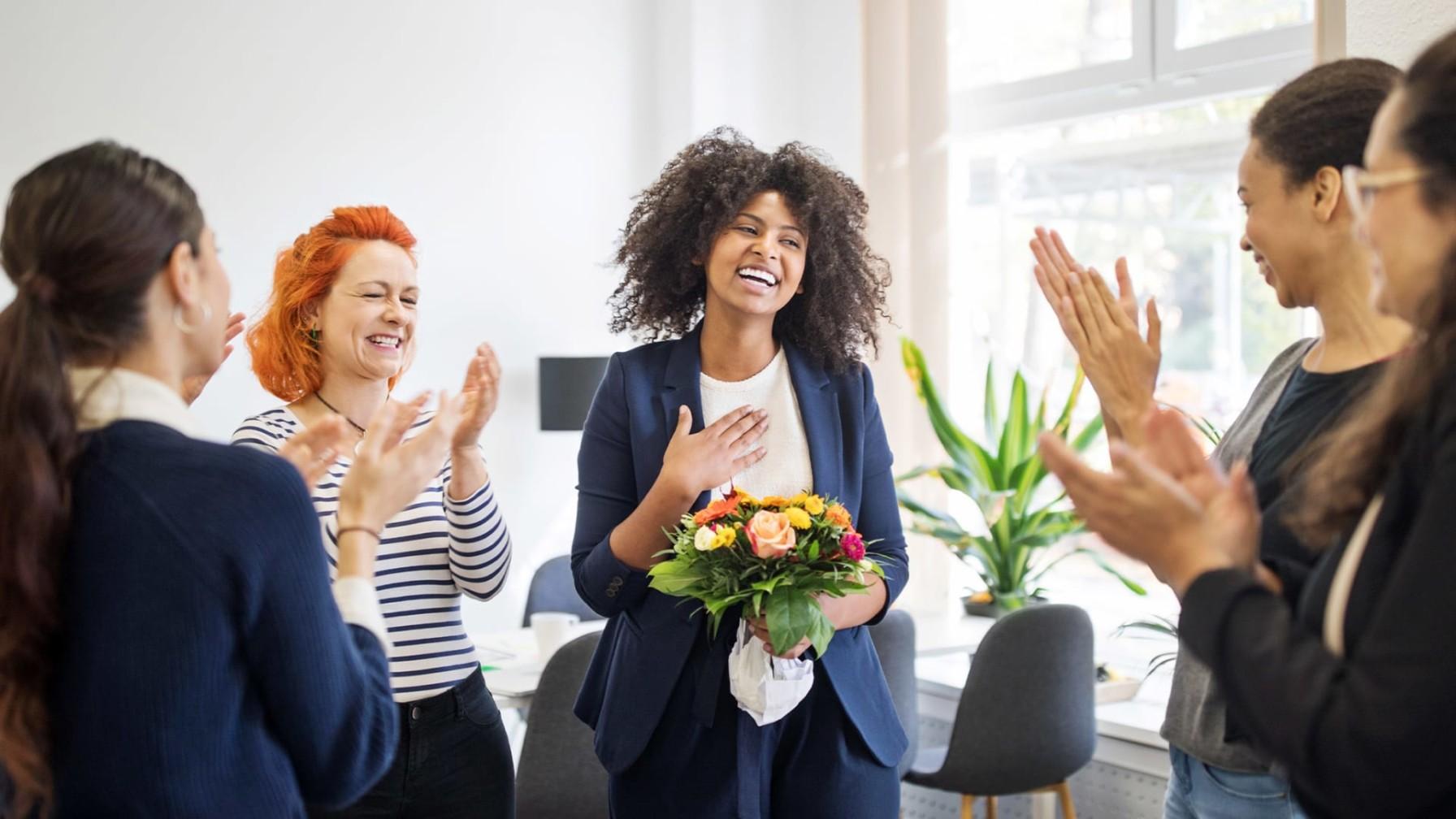 celebrating success of an employee