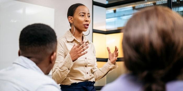 Black female leader presenting