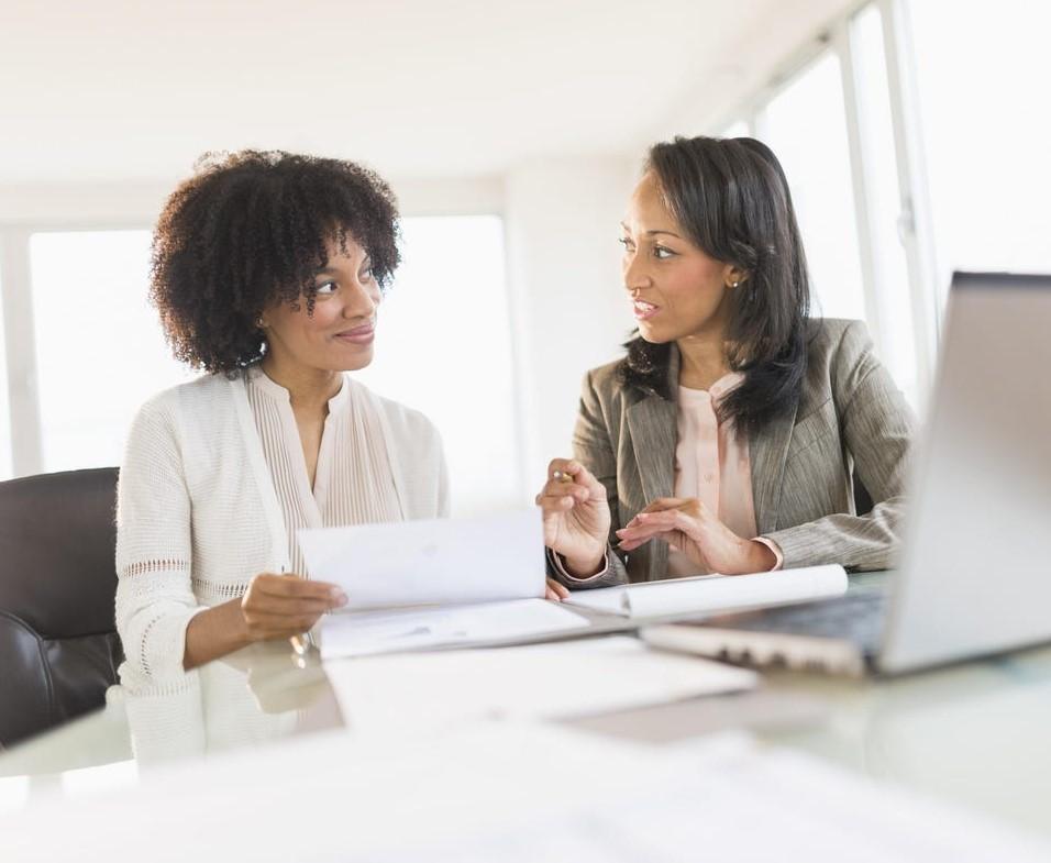 Providing her boss with upward feedback